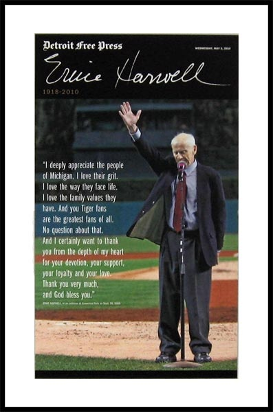 Detroit Tiger and Hall of Fame broadcaster Ernie Harwell gives his farewell speech.
