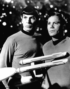From Wikipedia.org, a publicity photo of Leonard Nimoy and William Shatner as Mr. Spock and Captain Kirk from the television program Star Trek.