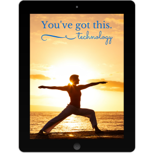 Tablet with yoga pose - empowerment