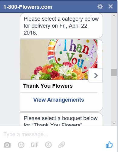 1800Flowers.com Chat Bot service - Flowers selection