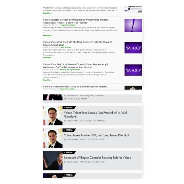 Techcrunch, Recode Yahoo headlines